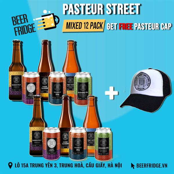 Hộp 12 Bia Pasteur + Mũ lưỡi trai miễn phí
