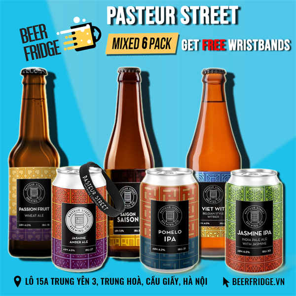Pasteur Street Mixed 6 Pack + 1 Free Wristband