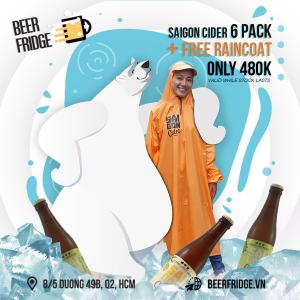 Saigon Cider 6 pack + Free raincoat